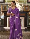 image of Purple Color Satin Silk Fabric Fancy Weaving Work Party Wear Saree