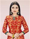 photo of Red Casual Wear Fancy Weaving Work Banarasi Silk Fabric Salwar Kameez