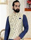 photo of Navy Blue Color Art Silk Fabric Function Wear Stylish Mens Kurta Pyjama With Jacket