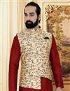 photo of Maroon Color Art Silk Fabric Function Wear Trendy Mens Kurta Pyjama With Jacket