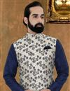 photo of Navy Blue Art Silk Fabric Function Wear Fancy Mens Kurta Pyjama With Jacket