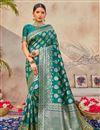 image of Art Silk Fabric Puja Wear Classic Teal Color Weaving Work Saree