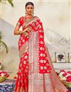 image of Puja Wear Red Color Classic Art Silk Fabric Weaving Work Saree