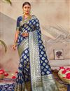 image of Puja Wear Art Silk Fabric Classic Weaving Work Saree In Navy Blue Color