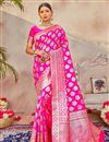 image of Magenta Color Puja Wear Art Silk Fabric Classic Weaving Work Saree