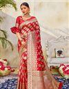 image of Red Wedding Wear Art Silk Fabric Fancy Weaving Work Saree