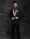 image of Black Color Fancy Fabric Designer Reception Wear Suit For Men