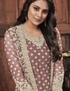 photo of Dark Beige Color Festive Wear Fancy Embroidered Net Fabric Straight Cut Suit