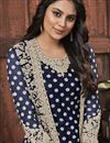photo of Net Fabric Festive Wear Fancy Embroidered Navy Blue Color Straight Cut Suit