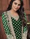photo of Festive Wear Dark Green Color Fancy Embroidered Net Fabric Straight Cut Dress