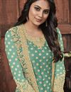 photo of Festive Wear Sea Green Color Fancy Embroidered Straight Cut Suit In Net Fabric