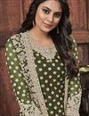 photo of Mehendi Green Color Festive Wear Fancy Embroidered Net Fabric Straight Cut Dress