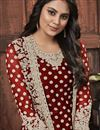 photo of Festive Wear Fancy Net Fabric Embroidered Straight Cut Suit In Maroon Color