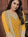 photo of Net Fabric Festive Wear Fancy Embroidered Yellow Color Straight Cut Dress