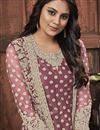photo of Festive Wear Fancy Lavender Color Embroidered Straight Cut Suit In Net Fabric