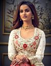 photo of Off White Color Function Wear Embroidered Long Length Anarkali Dress In Art Silk Fabric