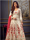 image of Off White Color Function Wear Embroidered Long Length Anarkali Dress In Art Silk Fabric