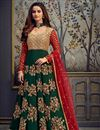 image of Function Wear Embroidered Green Color Long Length Anarkali Dress In Georgette Fabric
