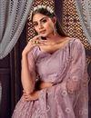 photo of Net Fabric Sequins Work Wedding Wear Designer Lehenga Choli In Lavender Color