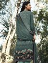 photo of Printed Cyan Color Crepe Fabric Office Wear Salwar Kameez