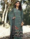 image of Printed Cyan Color Crepe Fabric Office Wear Salwar Kameez