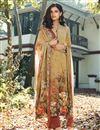 image of Crepe Fabric Printed Daily Wear Fancy Salwar Kameez In Cream Color