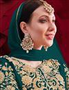 photo of Georgette Fabric Wedding Wear Designer Anarkali Suit In Teal Color