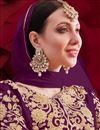photo of Reception Wear Designer Anarkali Suit In Wine Color Georgette Fabric