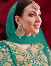 photo of Georgette Fabric Designer Anarkali Suit In Cyan Color
