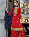 image of Function Wear Georgette Fabric Red Sharara Suit With Embroidery