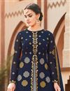 photo of Designer Navy Blue Color Wedding Wear Embroidered Anarkali Suit In Georgette Fabric