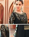 photo of Function Wear Embroidered Georgette Fabric Fancy Anarkali Suit In Black Color
