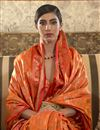 photo of Orange Color Party Style Art Silk Chic Weaving Work Saree