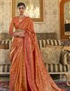 image of Orange Color Party Style Art Silk Chic Weaving Work Saree