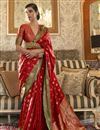 image of Party Style Art Silk Chic Weaving Work Saree In Red Color