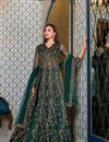 image of Function Wear Embroidered Teal Color Anarkali Dress In Net Fabric