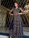 photo of Net Fabric Festive Wear Navy Blue Color Embroidered Anarkali Suit