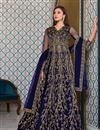 image of Net Fabric Festive Wear Navy Blue Color Embroidered Anarkali Suit