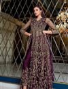 photo of Sangeet Wear Purple Color Net Fabric Embroidered Anarkali Suit