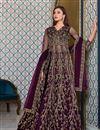 image of Sangeet Wear Purple Color Net Fabric Embroidered Anarkali Suit