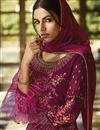 photo of Burgundy Color Festive Wear Embroidered Georgette Fabric Palazzo Suit