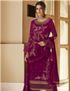 image of Burgundy Color Festive Wear Embroidered Georgette Fabric Palazzo Suit