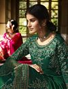 photo of Green Color Function Wear Embroidered Georgette Fabric Palazzo Dress
