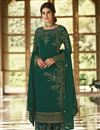 image of Green Color Function Wear Embroidered Georgette Fabric Palazzo Dress