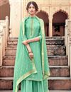 image of Sea Green Color Viscose Fabric Function Wear Fancy Embroidered Palazzo Dress