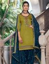 image of Green Color Chic Embroidered Patiala Dress