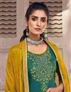 photo of Festive Wear Teal Color Chic Art Silk Fabric Embroidered Patiala Suit