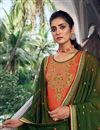 photo of Chic Festive Wear Orange Color Embroidered Patiala Suit In Art Silk Fabric
