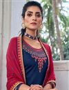 photo of Navy Blue Color Festive Wear Art Silk Fabric Chic Embroidered Patiala Dress