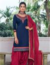 image of Navy Blue Color Festive Wear Art Silk Fabric Chic Embroidered Patiala Dress
